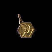 Joyous 1937 French Gold-Filled Nativity Medal