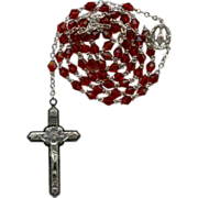 Sparkling Vintage Red Glass Rosary – Eucharist Chalice & Angels – Italy
