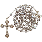 Stunning Vintage Sterling & Gray Crystal Catholic Rosary – Carved Rose Motif – 54 Grams
