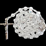 Sparkling Vintage Sterling & Crystal St. Anne de Beaupre Catholic Rosary – 68 Grams