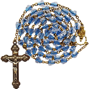 Vintage Sparkling Blue-Core Glass Catholic Rosary