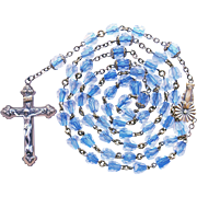 Vintage Brass & Blue Core Glass Beads Catholic Rosary – Figural Center Medal – 45 Grams
