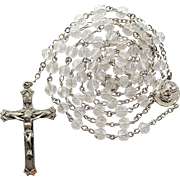 Pristine Vintage 1960s Sterling & Crystal Catholic Rosary – New Old Stock – Ecce Homo Center
