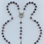 Purple, Pink & Black Art Glass Rosary – Marked Chapel Italy