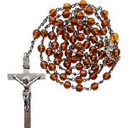 Vintage Amber Glass & Sterling Catholic Rosary – Rare Christ the King Center – Hallmarked Swift & Fisher