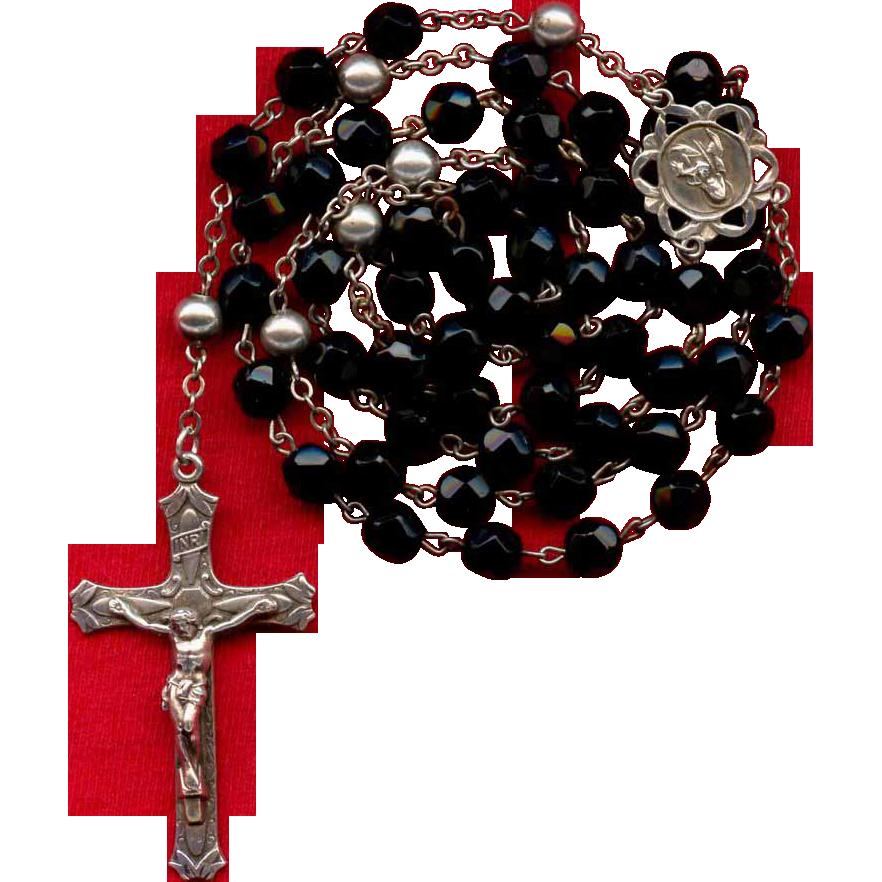 Sparkling Vintage Black Glass & Sterling Silver Rosary
