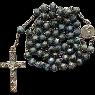 Vintage Catholic Lourdes Pilgrimage Rosary – Art Glass Beads