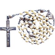 Glowing Glass Pearl Vintage Catholic Rosary – Germany