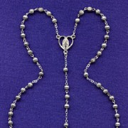 Lovely Creed Silverplated Rosary – Corrugated Beads & Miraculous Medal Center
