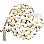 Antique Carved Bone & Brass Catholic Rosary – Trinity Crucifix