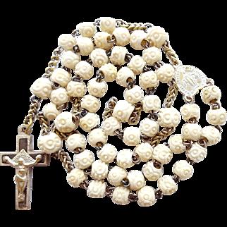 Antique Carved Bone & Brass Catholic Rosary – Trinity Crucifix