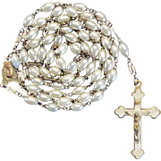 Long, Lustrous Glass Pearl & Brass Rosary – 40 Grams of Fabulous '40s Elegance