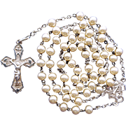 Delightful Vintage Silver & Faux Pearl Catholic Rosary