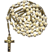 Antique 1900s German Gilded Brass & Bone Catholic Rosary – Coiled Extenders & Trinity Crucifix