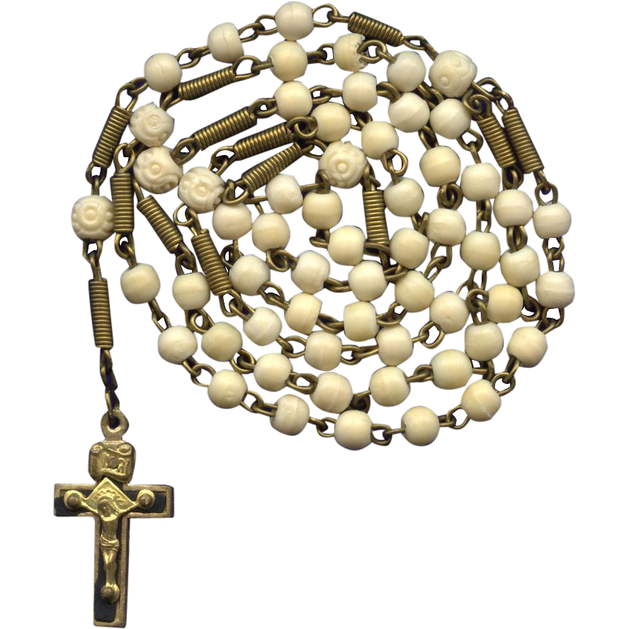 Early 1900s German Gilded Brass & Bone Antique Rosary – Coiled Extenders & Trinity Crucifix