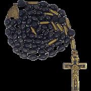 Elegant Antique Ebony & Brass Rosary – Inverted Latin Center Medal