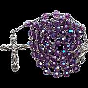 Vintage Sterling & Purple AB Glass Catholic Rosary – 47 Grams