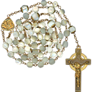 Unusual Mother of Pearl & Gold-Filled Rosary – Ecce Homo / Mater Dolorosa Center