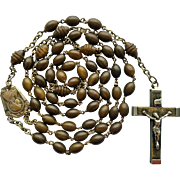 French Art Deco Nile Coco Bead Catholic Rosary – Carved Barrel Paters