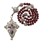 Superb Antique 19C Bavarian Filigree Catholic Rosenkranz Rosary – Enamel Crucifix & Credo Cross – Hallmarked Silver