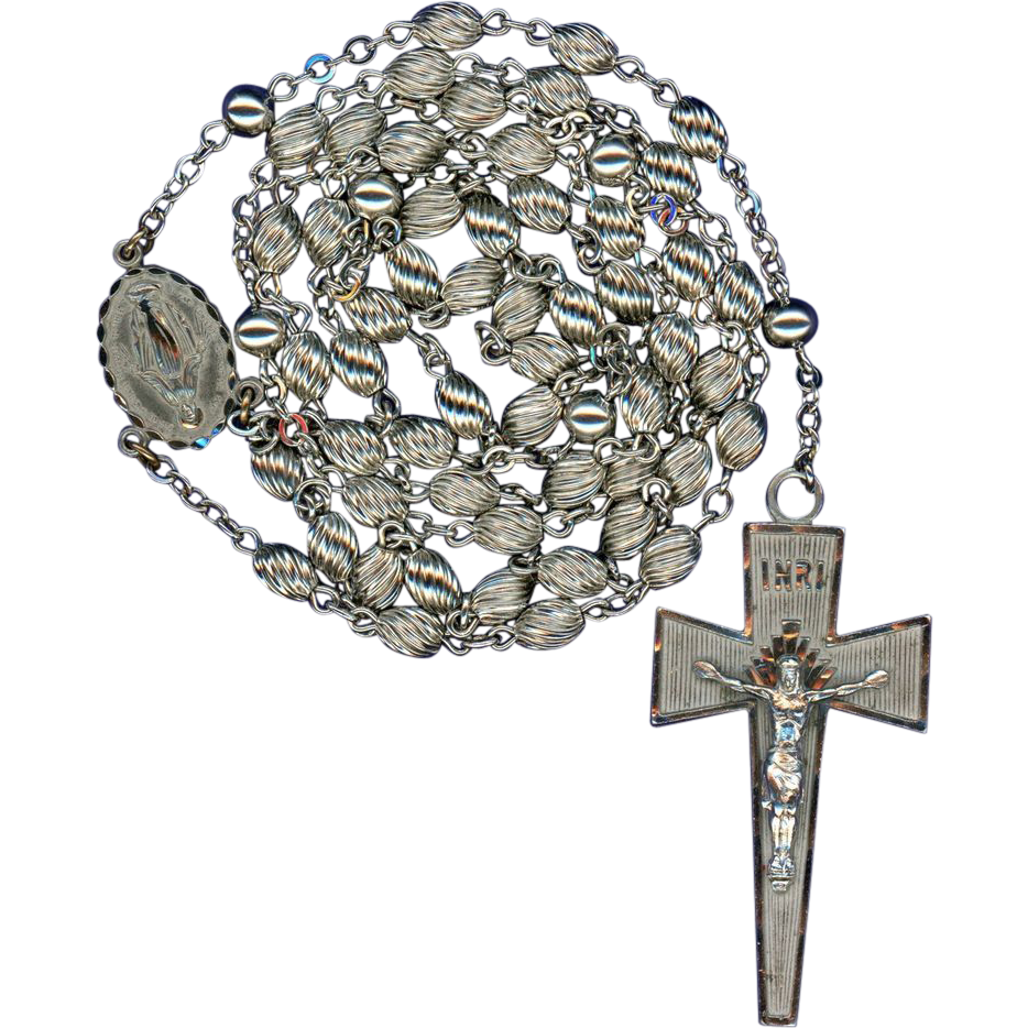 1960s Corrugated Bead Rosary – Bold Sterling Crucifix – Hallmarked Grenci