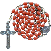 Vintage Art Deco Catholic Rosary Orange Coral Glass Prosser Beads – France
