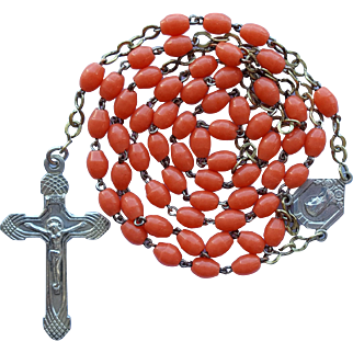 Vintage Art Deco Catholic Rosary Orange Coral Glass Prosser Beads – France