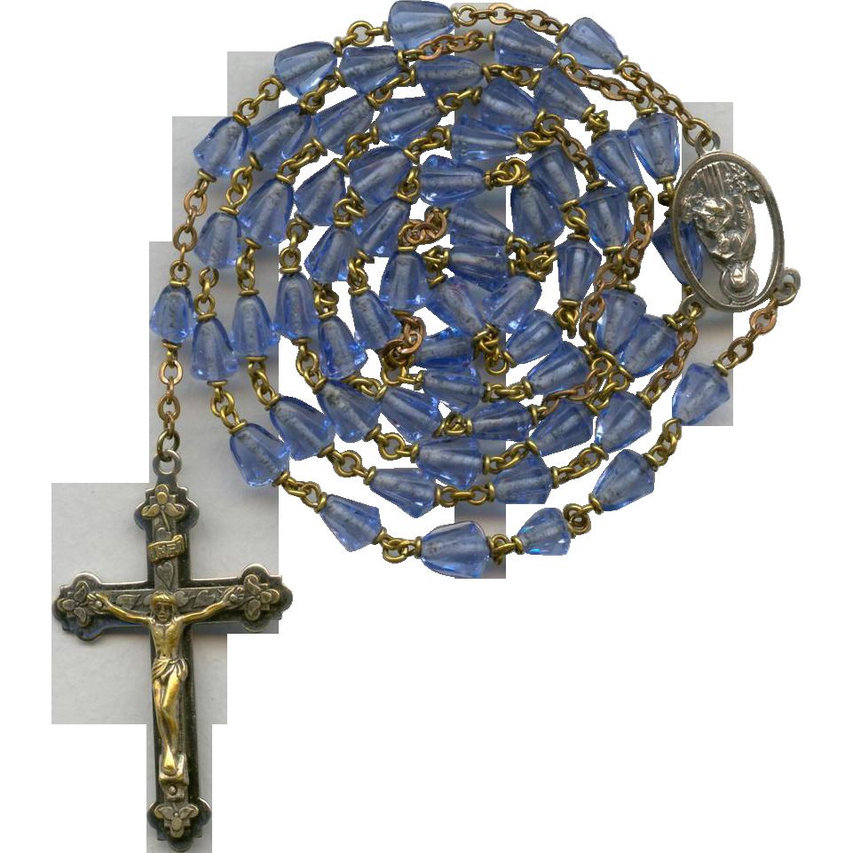 Vintage Marian Blue Molded Glass Bead Catholic Rosary – Jesus & Mary Center – 38 Grams