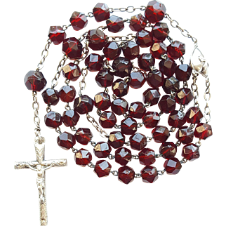 Antique Victorian French Silver & Garnet Glass Catholic Rosary – Puffed Center & Crucifix