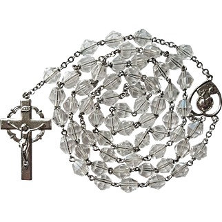 Outstanding Vintage Bicone Crystal Bead Catholic Rosary – 51 Grams