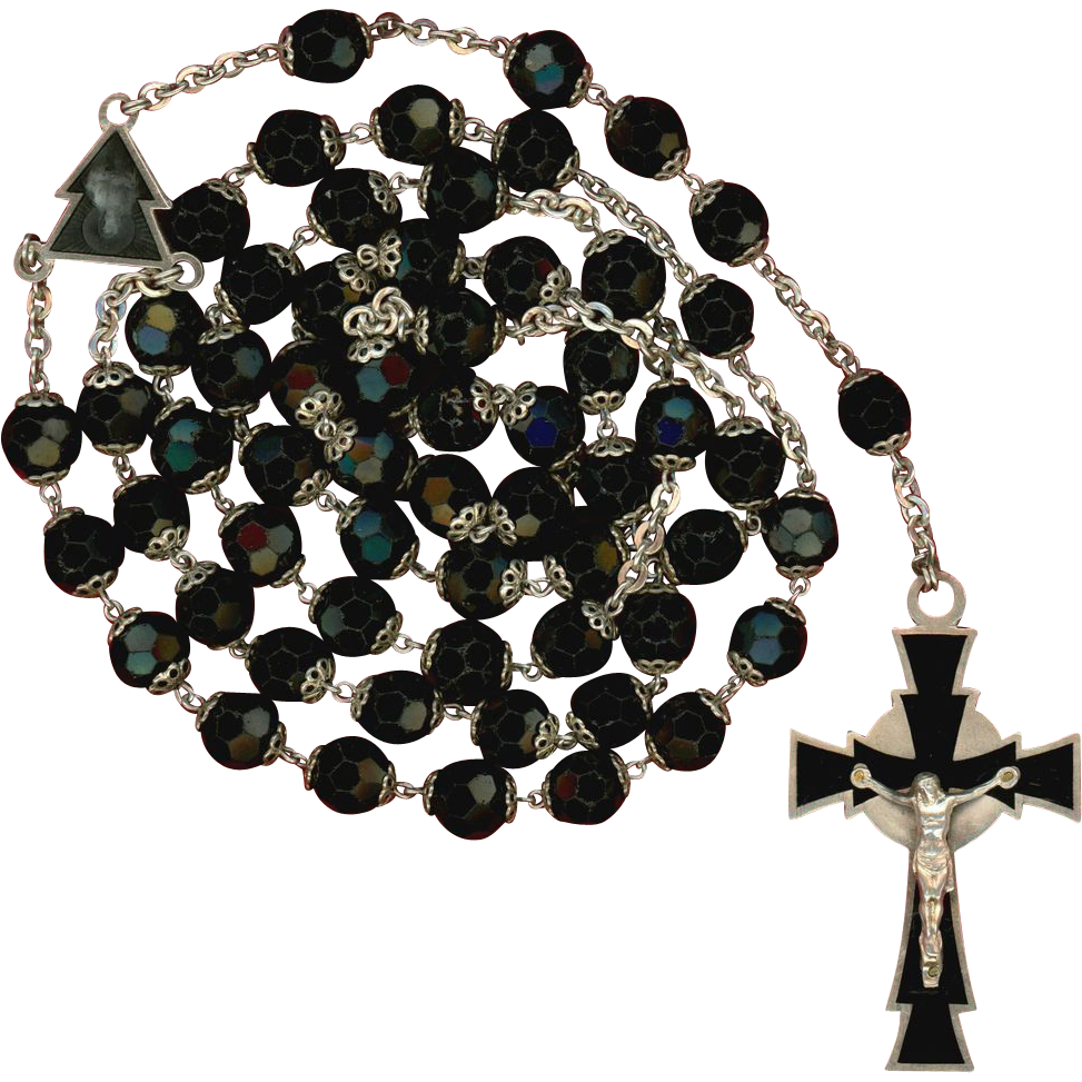 Fantastic 1960s Black Glass & 800 Silver Rosary – Roma – 70 Grams