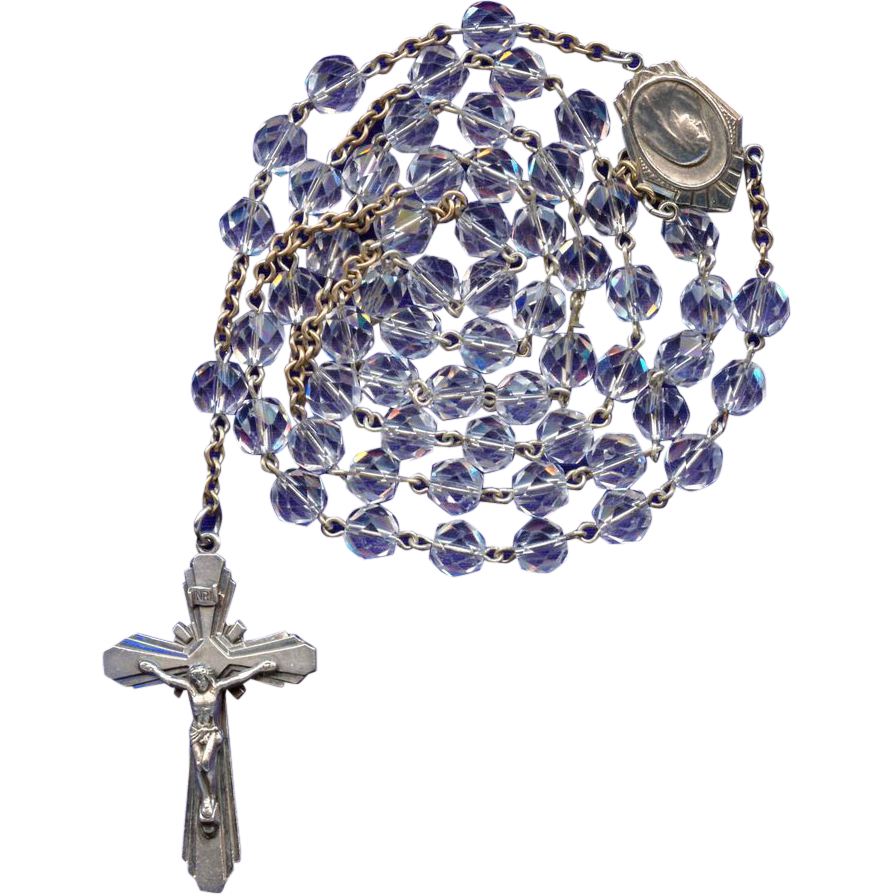 Sparkling Vintage Sterling & Box Cut Glass Catholic Rosary – 47 Grams