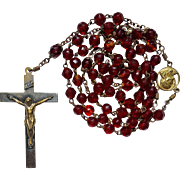Vintage Brass & Ruby Red Glass Catholic Rosary – Italy
