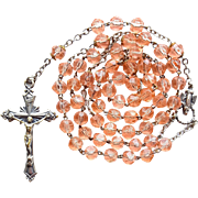 Lovely Peach Glass Catholic Rosary – Italy