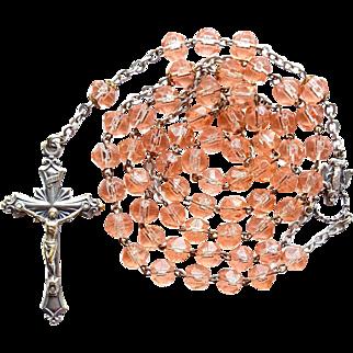 Lovely Peach Glass Catholic Rosary – Italy