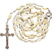 Splendid French 1900s Antique Mother of Pearl Catholic Eucharist Rosary – 44 Grams – Signed Lasserre