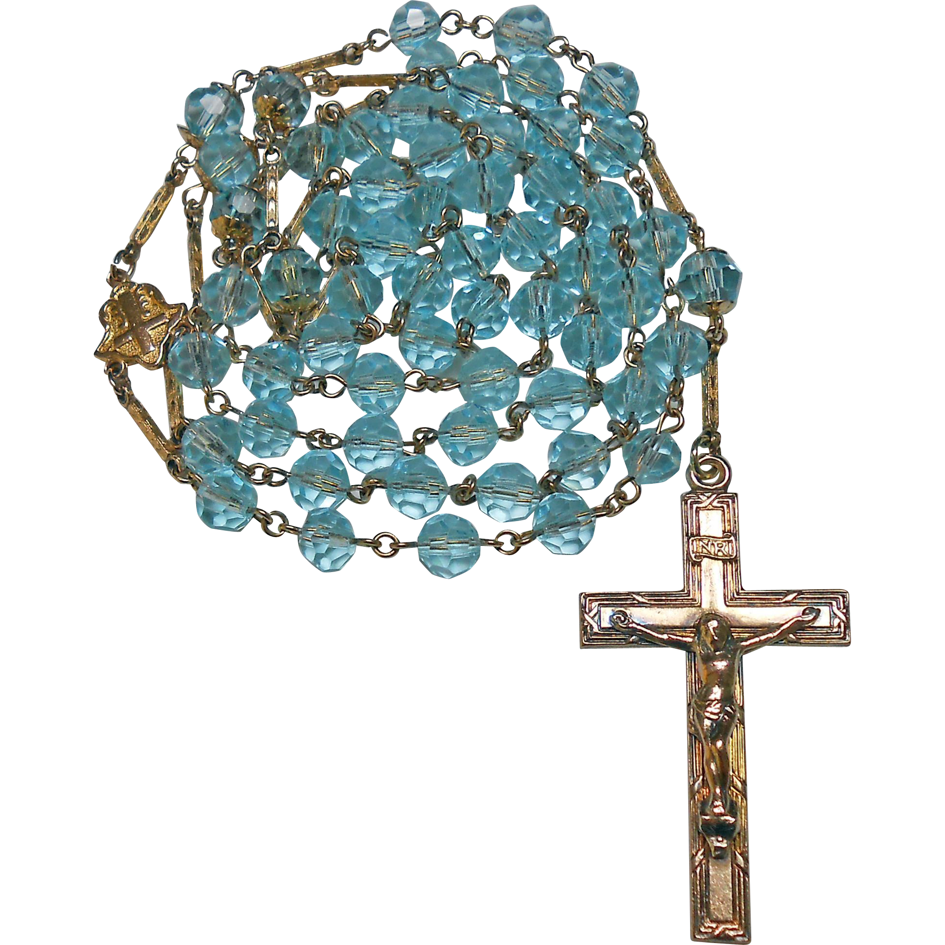 Pristine 1940s Gold-Filled & Aqua Glass Rosary – Fancy Extenders