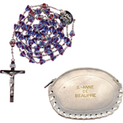 Sparkling Blue Glass Rosary from St. Anne de Beaupre Basilica with Matching Pouch – 42 Grams