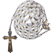 Gilded French White Prosser Bead Vintage Catholic Rosary – Scapular Center Medal