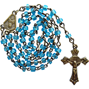 Vintage Art Deco Miniature Catholic Blue Glass Rosary for Doll Poupee Child – Italy