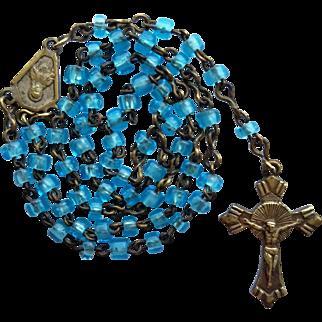 Vintage Art Deco Miniature Catholic Blue Glass Rosary for Doll Poupee Child – Italy