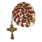 Brilliant Goldstone / Aventurine Glass & Gilded Brass Rosary – Fancy Spacers – Hallmarked