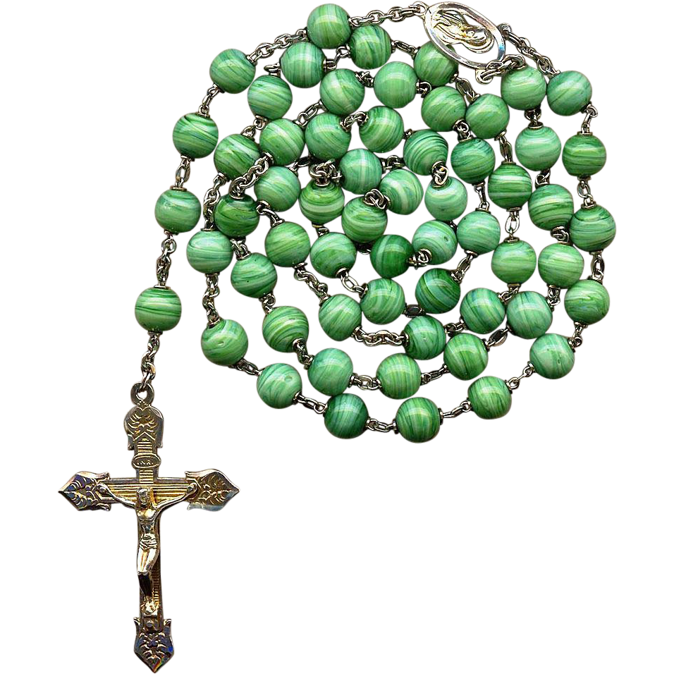 Gorgeous Sterling & Vermeil Rosary – Green Swirl Spun Glass Beads – Roma – Hallmarked – 80 Grams