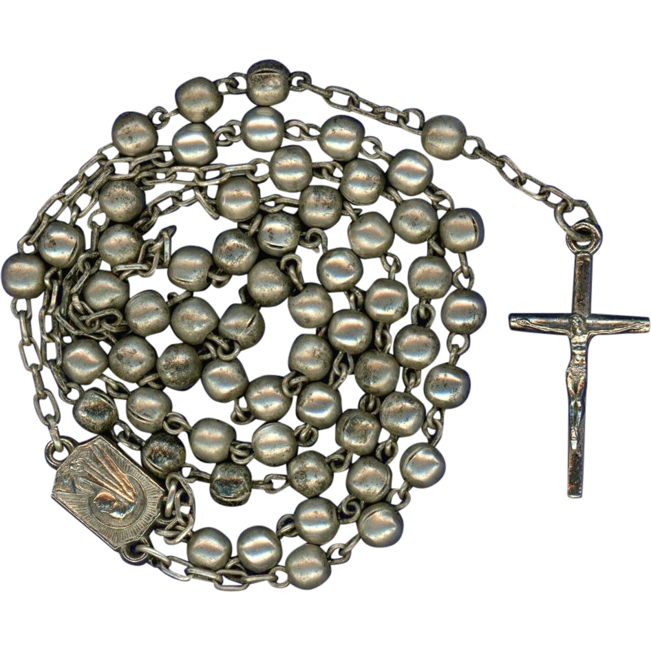 Sweet Silver Plated Rosary – Slender Crucifix – Roma Souvenir