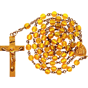 Rose Gold-Filled Vintage Yellow Glass Catholic Rosary