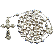 Glowing Vintage 800 Silver Catholic Rosary – Italian Hallmarks
