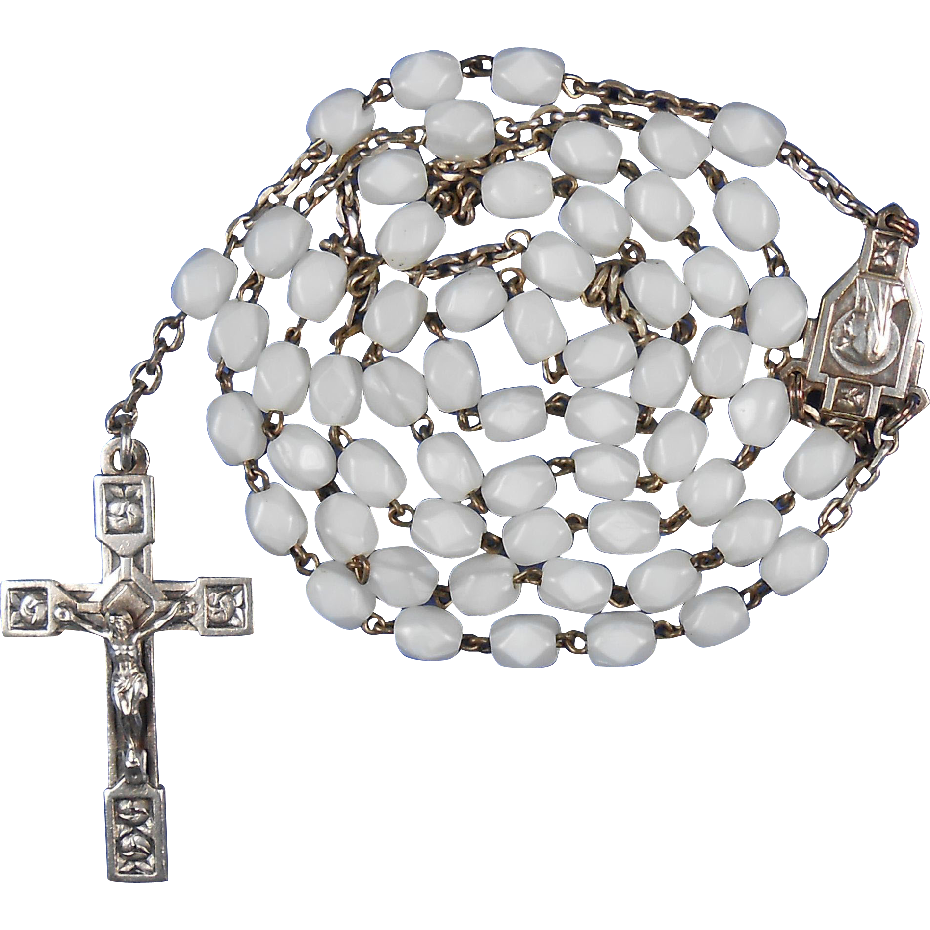 Pearly White French Art Deco Rosary – Rose Motif
