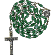 Rare Green Satin Glass Rosary – Maria Immaculata Center – France