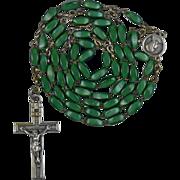 Rare Green Satin Glass Rosary – Maria Immaculata Center – France