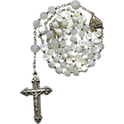 Superb Victorian Silver & Mother of Pearl Rosary – French Crab Hallmarks